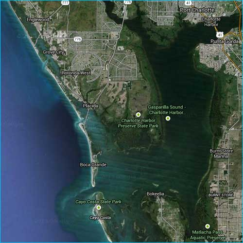 Aerial photo of Boca Grande, Florida fishing waters