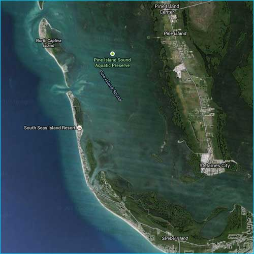 aerial photo of Pine Island Sound, Florida fishing waters