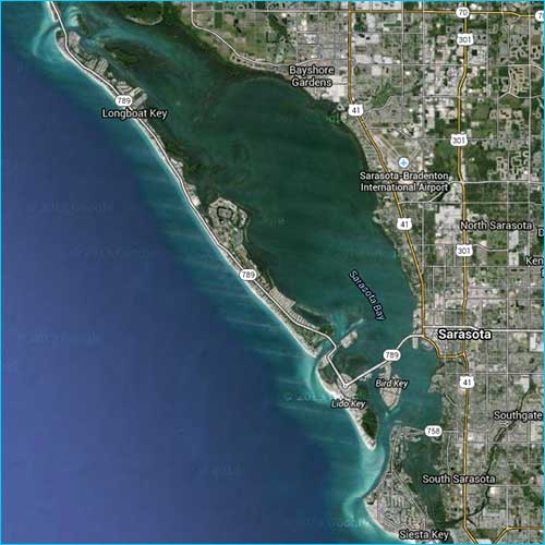 Aerial photo of Sarasota, Florida fishing waters