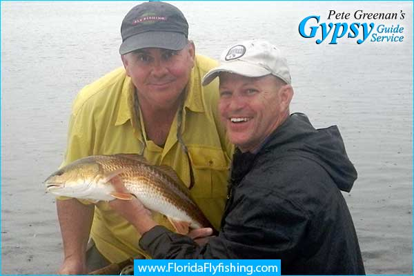 Redfish caught on a Puglist Minnow while fly fishing in Boca Grande, FL - Pete greenan, fly fishing guide - Jeff Conrad and Rob Walters, flyfishermen